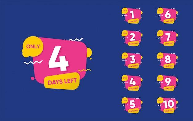 Nombre de jours restant à rebours Vecteur Premium