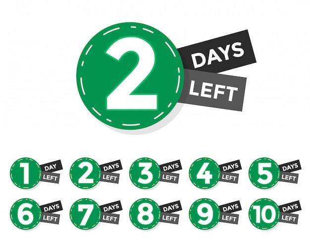 Nombre de jours restants badge ou conception d'étiquette Vecteur gratuit