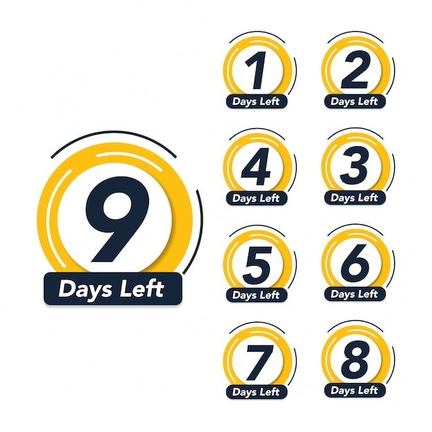 Nombre de jours restants badge promotionnel symbole de bannière de vente Vecteur Premium
