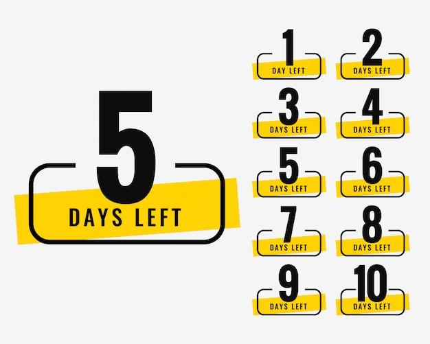 Nombre de jours restants symbole de la bannière promotionnelle Vecteur gratuit