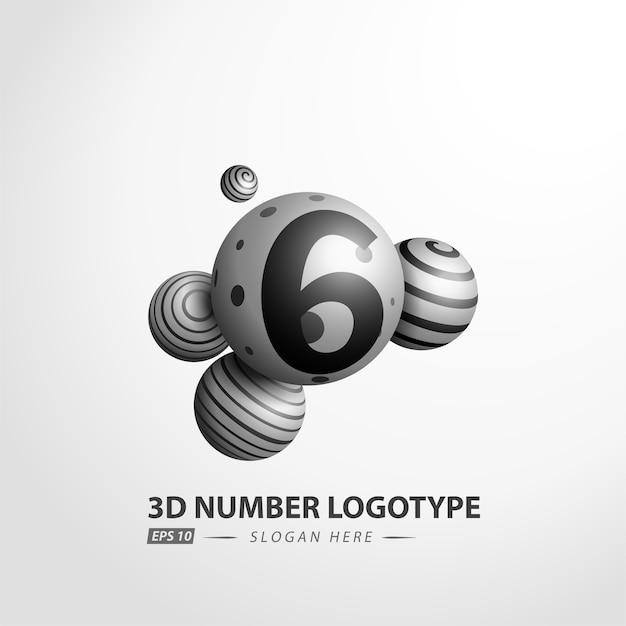 Nombre logotype de boule décorative Vecteur Premium