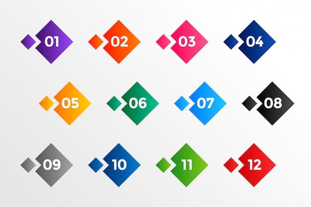 Nombre De Puces De Style Géométrique Dans De Nombreuses Couleurs Vecteur gratuit