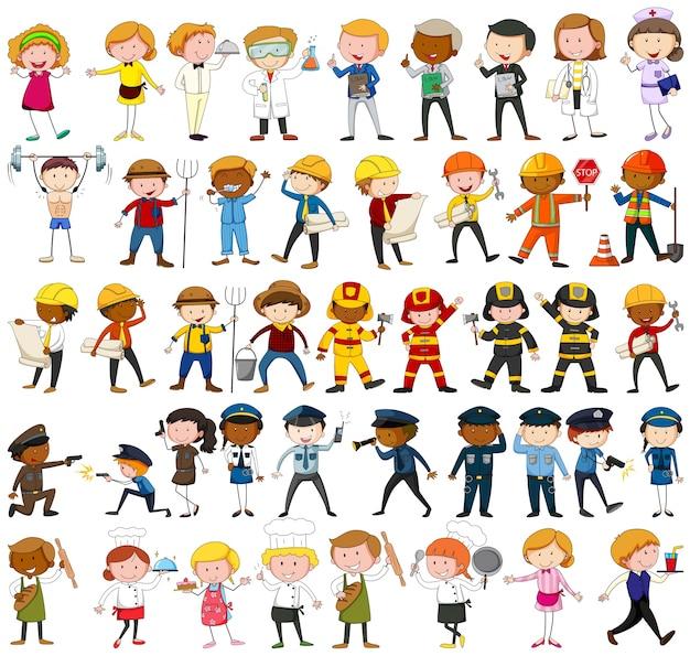 De nombreux personnages avec différentes illustrations de professions Vecteur gratuit