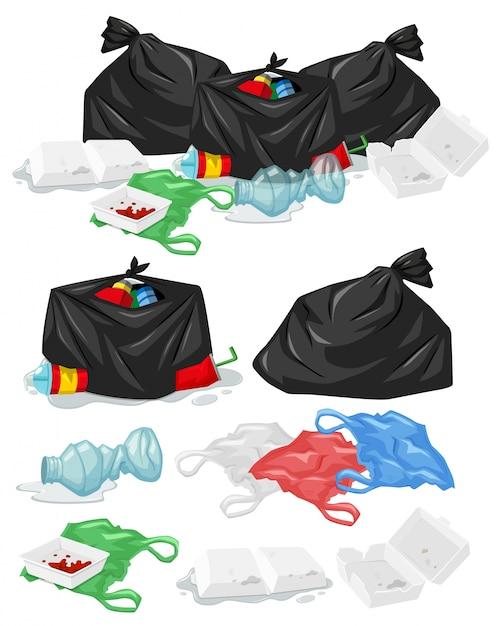 De nombreux tas de déchets avec des sacs en plastique et des bouteilles d'illustration Vecteur gratuit