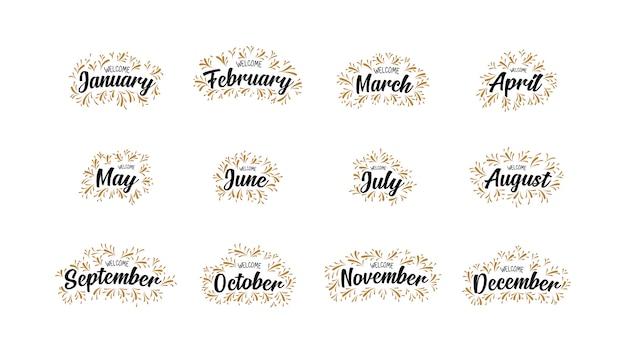 Noms manuscrits des mois de bienvenue avec lettrage Vecteur Premium