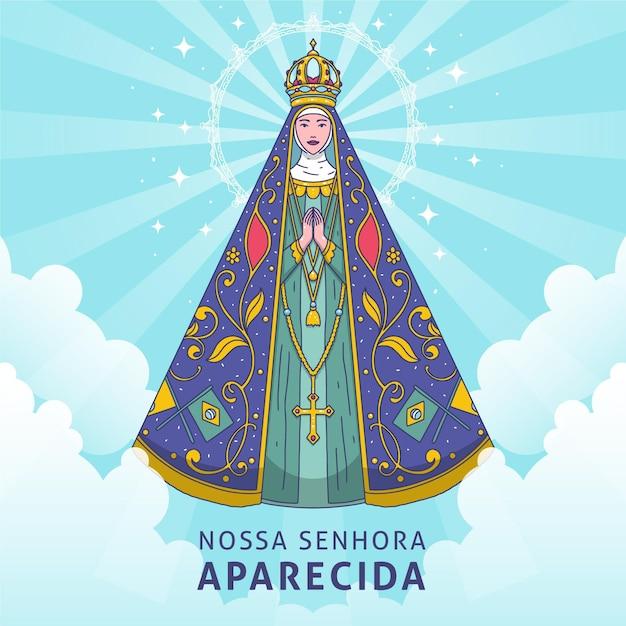 Nossa Senhora Aparecida Dessiné à La Main Vecteur gratuit