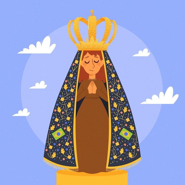 Nossa Senhora Aprecida Dessiné à La Main Vecteur gratuit