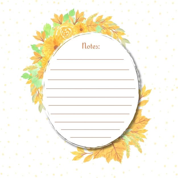 Note avec cadre floral jaune Vecteur Premium