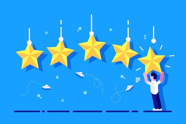 Note avec caractère. évaluation étoilée. homme d'affaires tenant l'étoile d'or dans les mains, pour donner cinq. concept de rétroaction. système d'évaluation. examen positif. travail de qualité. commentaires pour la page web, bannière. Vecteur Premium