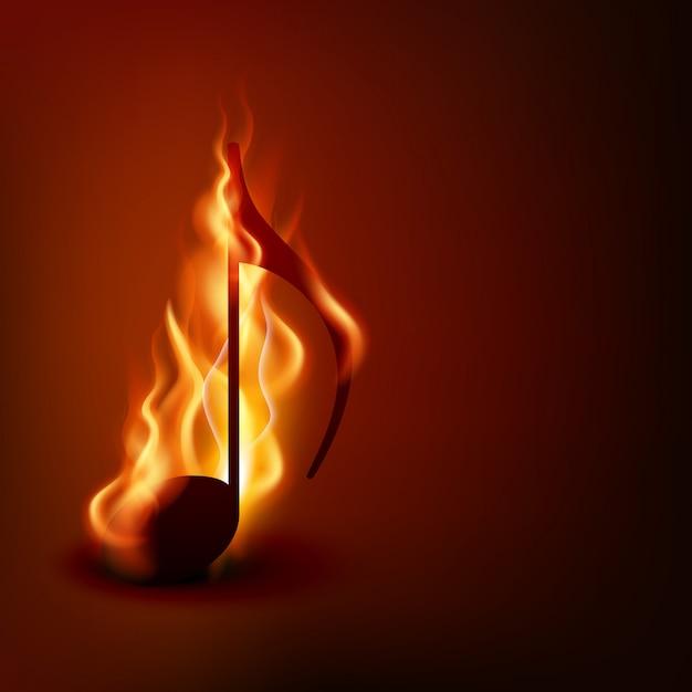 Note de musique brûlante Vecteur Premium