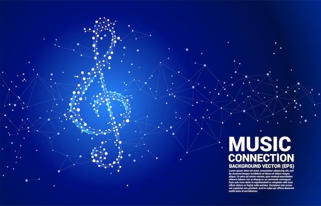 Note de musique vecteur sol de la ligne dot connect. Vecteur Premium