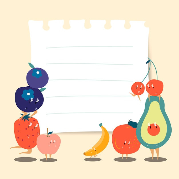 Note de papier avec le vecteur de fruits drôles Vecteur gratuit