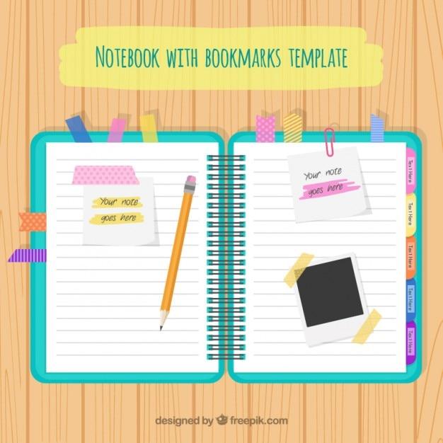 Notebook avec accessoires Vecteur gratuit