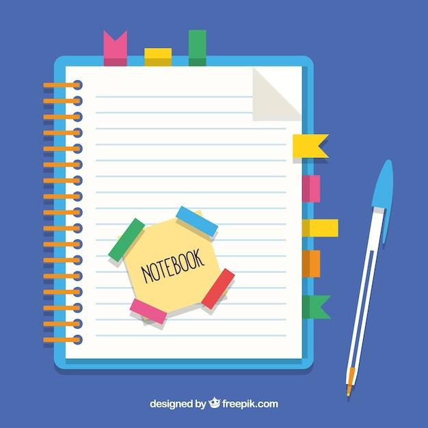 Notebook avec des signets et un stylo Vecteur gratuit