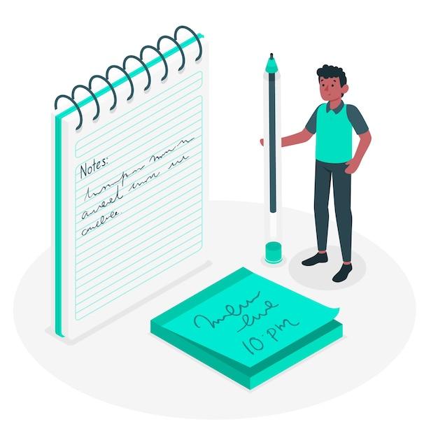 Notes Concept Illustration Vecteur gratuit