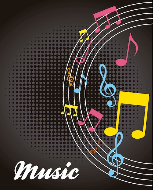 Notes musicales musicales sur illustration vectorielle fond noir Vecteur Premium