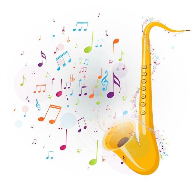 Notes de musique colorées avec saxophone Vecteur Premium