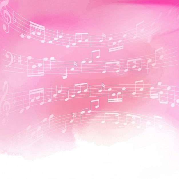 Les notes de musique sur un fond d'aquarelle rose Vecteur gratuit