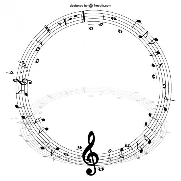 Notes de musique vecteur cercle Vecteur gratuit