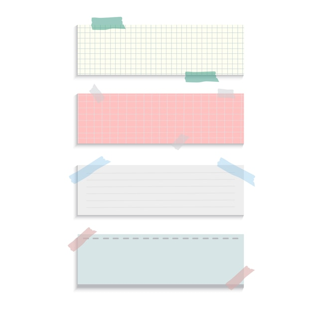 Notes de papier de rappel rectangle set vector Vecteur gratuit