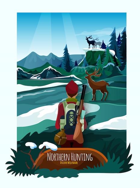 Nothern paysage nature affiche de chasse Vecteur gratuit
