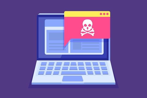 Notification Ou Alerte De Cheval De Troie De Virus D'ordinateur Portable Vecteur Premium