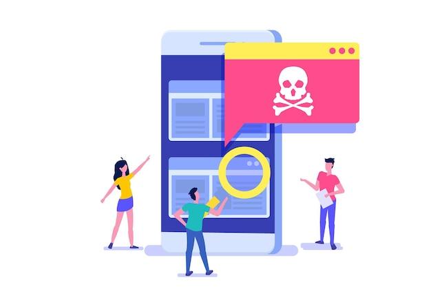 Notification Ou Alerte De Cheval De Troie De Virus De Smartphone Vecteur Premium