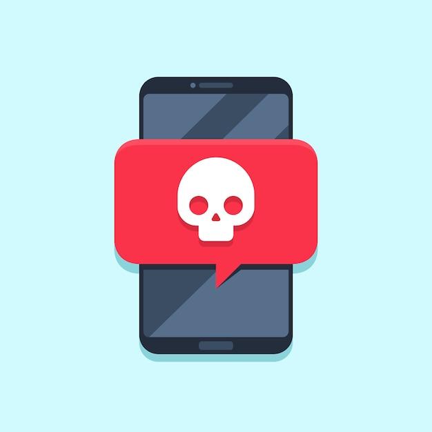 Notification de virus sur l'écran du smartphone. message d'alerte, attaque de spam ou notifications de logiciels malveillants. concept de vecteur de virus smartphones Vecteur Premium