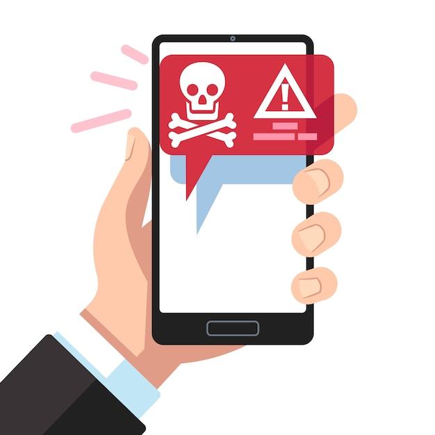 Notification De Virus Sur L'écran Du Smartphone. Vecteur Premium