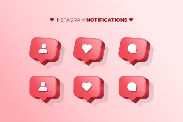 Notifications Instagram Vecteur Premium