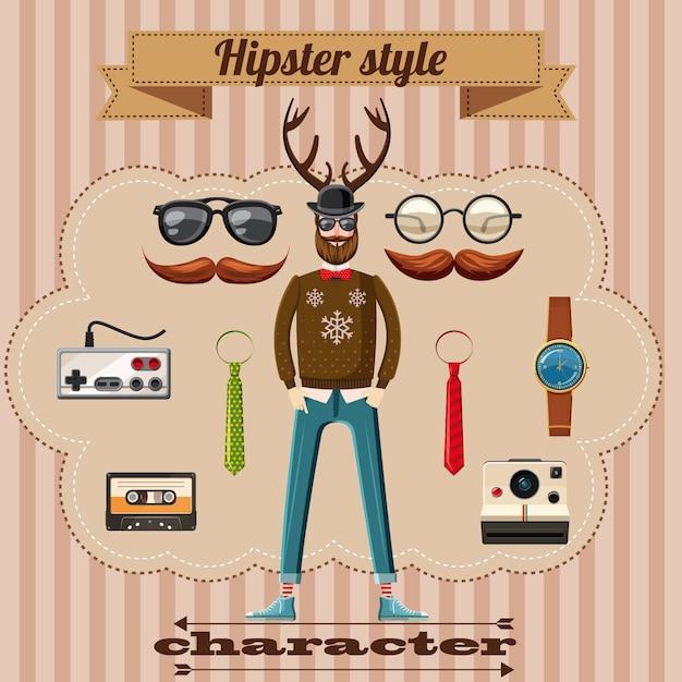 Notion de caractère de style hipster, style cartoon Vecteur Premium