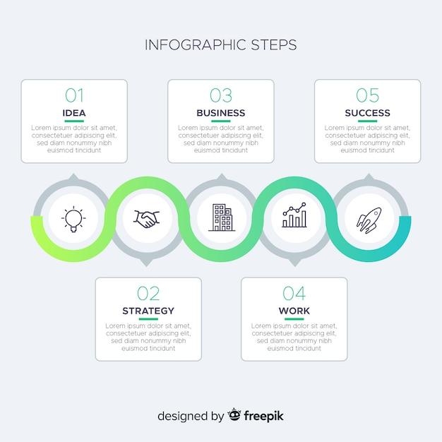 Notion d'étapes infographiques Vecteur gratuit