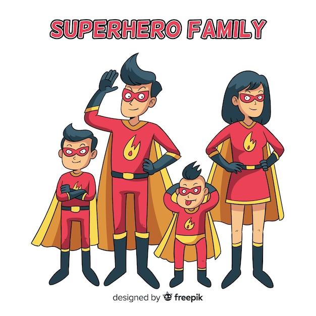 Notion de famille de super-héros Vecteur gratuit