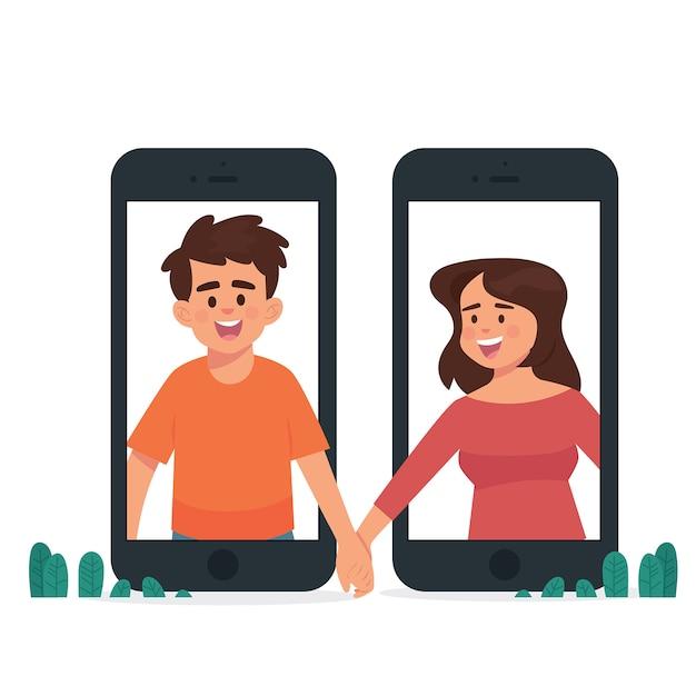 Notion de relation longue distance Vecteur Premium