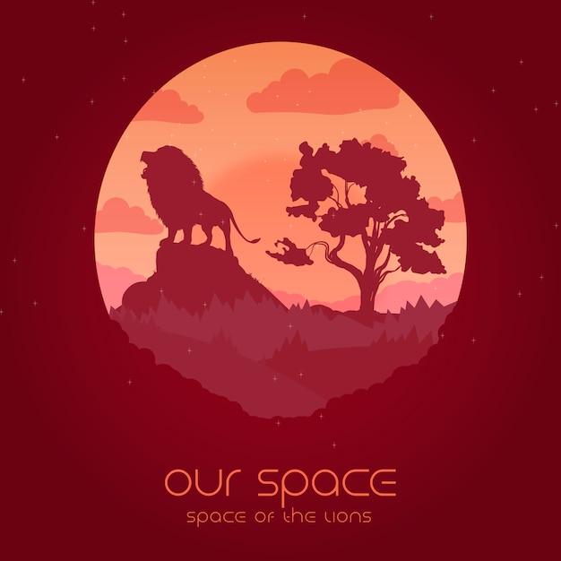 Notre espace - illustration de l'espace des lions Vecteur Premium