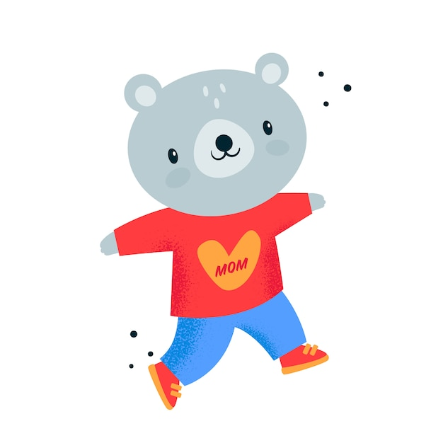 Nounours bébé animal en capuche rouge avec coeur. j'aime ma mère Vecteur Premium