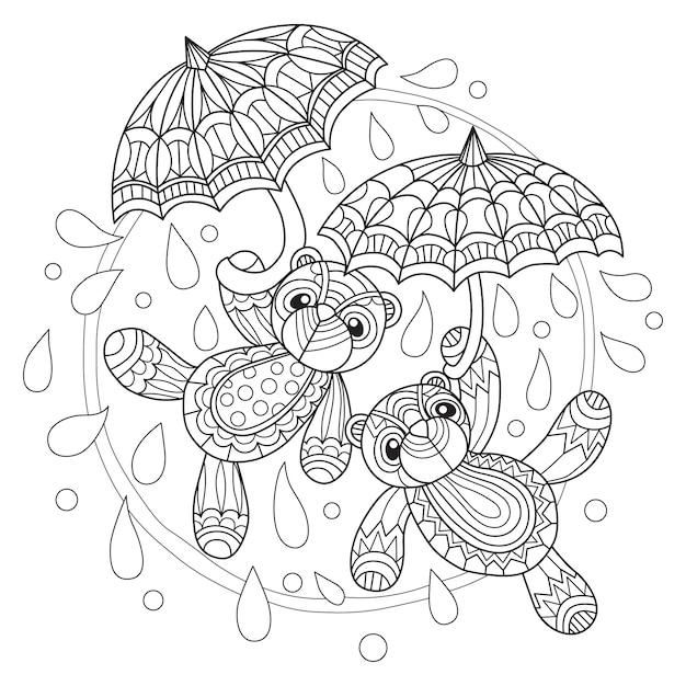 Nounours et parapluie dessinés à la main Vecteur Premium
