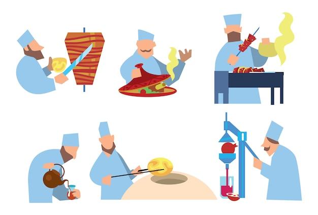 Nourriture Arabe. Shawarma, Shish Kebab, Pastilles Vecteur Premium
