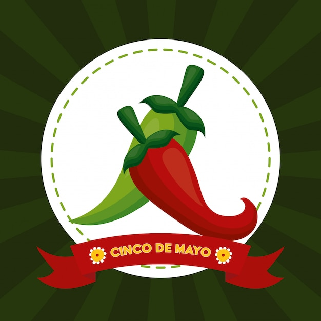 Nourriture au piment, cinco de mayo, illustration du mexique Vecteur gratuit