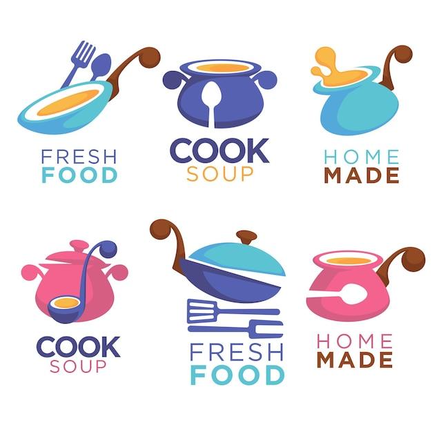 Nourriture Faite Maison, Collection De Logo, Symboles Et Emblème Pour Votre Menu De Plats Communs Vecteur Premium