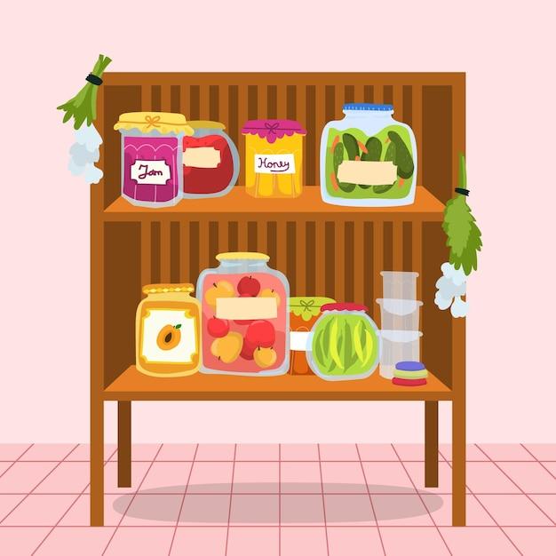 Nourriture De Garde-manger Dessiné à La Main Vecteur gratuit
