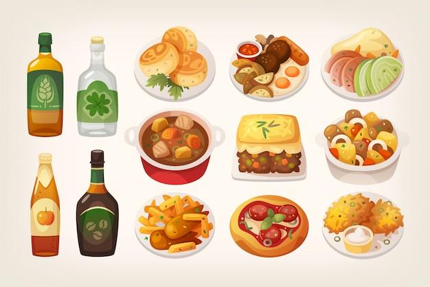 Nourriture irlandaise Vecteur Premium
