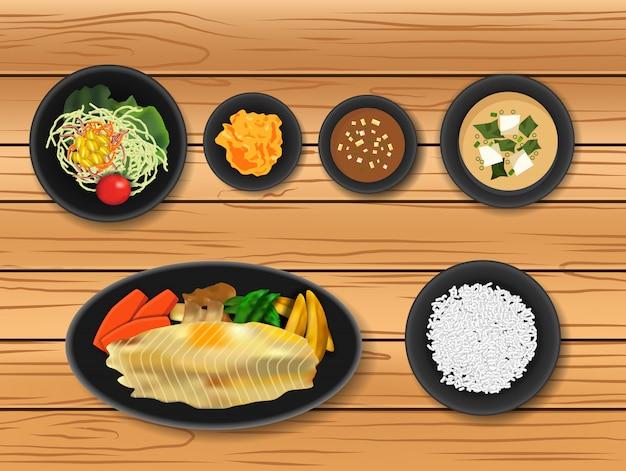 Nourriture japonaise Vecteur Premium