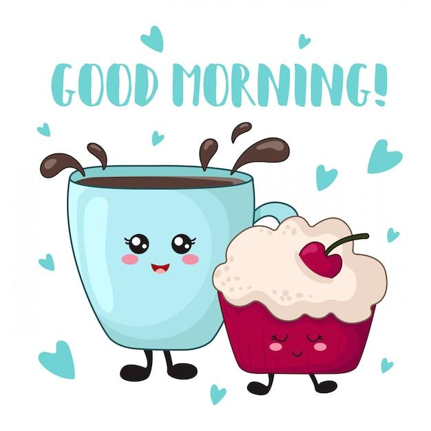 Nourriture kawaii de dessin animé pour le petit-déjeuner - gâteau aux cerises, café ou thé Vecteur Premium