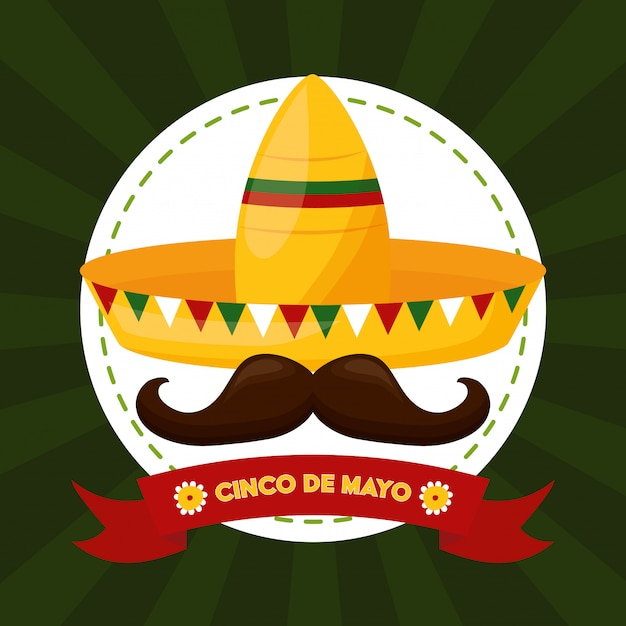 Nourriture Mexicaine Et Moustache, Cinco De Mayo, Illustration Du Mexique Vecteur gratuit