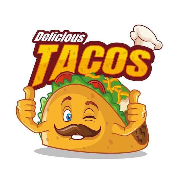 Nourriture De Personnage De Dessin Animé Taco Vecteur Premium