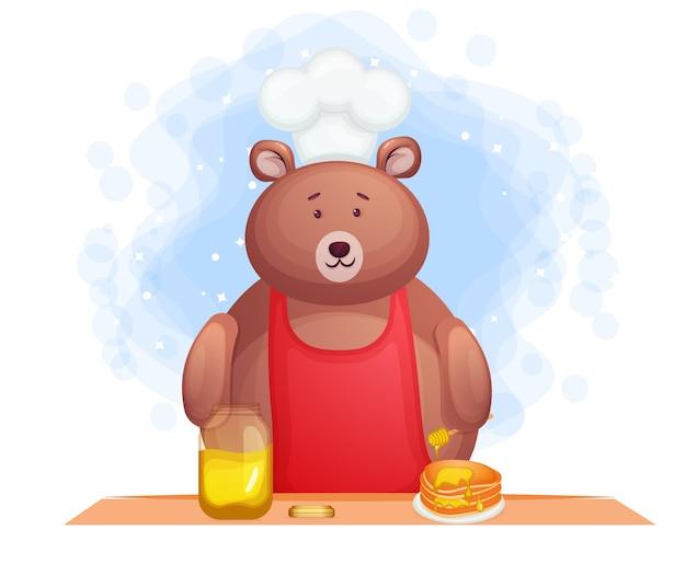 Nourriture De Petit-déjeuner Ours Mignon Avec Crêpes Vecteur Premium