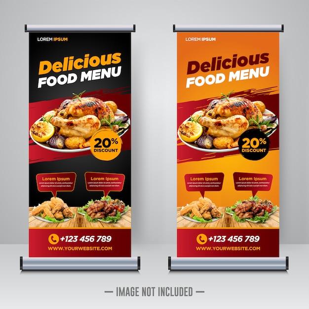 Nourriture De Restaurant Roll Up Ou Modèle De Bannière X Vecteur Premium