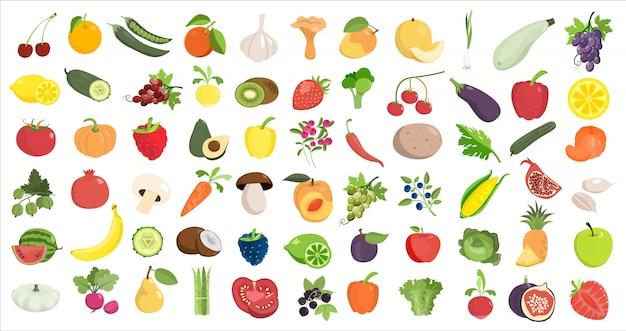 La Nourriture Saine Aime. Fruits Et Légumes Sur Blanc. Vecteur Premium