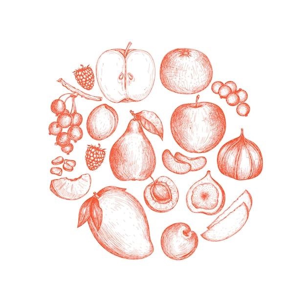 Nourriture végétalienne saine fond dessiné à la main Vecteur Premium